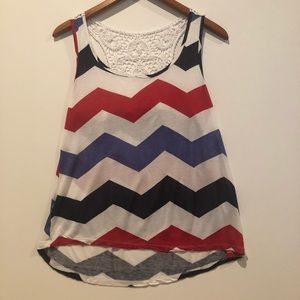 Rue 21 red white and blue tank top w laced back